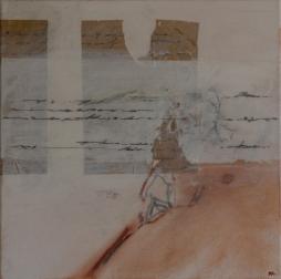 schriftgelehrt II, Öl, Wachs auf Lwd, 44x44