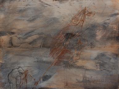 ich bin ganz ohr, Öl, Wachs auf Hartf., 44x34